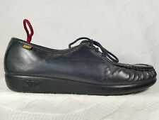 SAS Navy Blue Leather Diabetic Comfort Casual Moc Toe Loafer Shoes Women 11.5 M