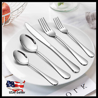 40 Pcs Stainless Steel Cutlery Set Flatware Silverware Kitchen Spoon Fork Knife