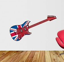 Union Jack Guitar Music Wall art sticker,decal, Graphic,Bedroom sg67
