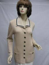 St John Knit Beige Detachable Silk Collar Jacket SZ 2 4