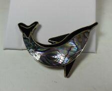 Alpaca Mexico Dolphin Pin Brooch, Abalone