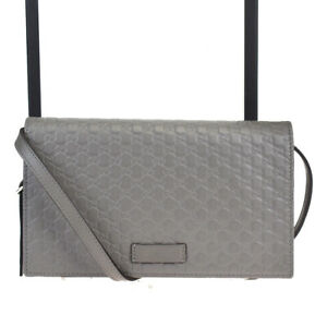 Authentic GUCCI Micro GG Pattern Mini Shoulder Bag Leather Gray Italy 81MB126