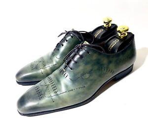 Santoni Wholecut Green/Gray Patina Leather Shoes Size 41,5, UK-7,5, US-8,5