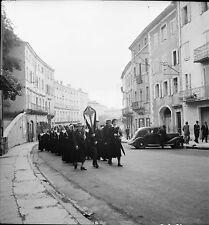 PRIVAS c. 1938 - Auto Procession Religieuses  Ardèche - Négatif 6 x 6 - N6 ARA33