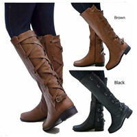 Womens Military Lace Up Leather Botas Zip Low Chunky Heel Knee High Boots Size