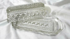 Vintage Crystal Glass Clear Anchor Hocking Wexford Pattern Butter Dish w/ Lid