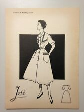 "DESSIN MODE ANNEES 50 - CREATION A. MARET - CHOLET // MODELE "" JOSE """