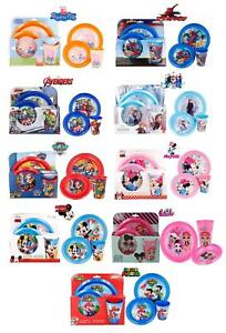 New 2021 Latest Design Kids 3PC Character Breakfast Sets Plate Tumbler and Bowl