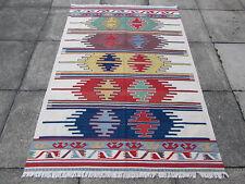 Fine Old Traditional Turkish Oriental Hand Made Kilim Rug 184x129cm Cream Wool