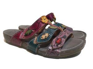 Spring Step L'Artiste Aghna Multicolor Floral Slides Sandals Womens Size 41