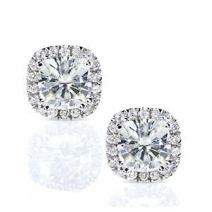 14 Karat Weißgold Ohrringe Solitaire Ohrstecker Kissenschliff 1,60 ct Diamant