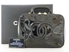 rk5101 Auth CHANEL Black Patent Leather CC Cosmetic Vanity Hand Bag