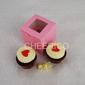 Standard Cup Cake Box PINK with PINK base - Hold 1 cupcake - 25 sets in a Pack