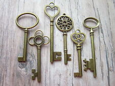 6 x large antique bronze skeleton keys wedding vintage fancy pendants santa UK