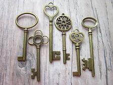 6 x large antique bronze skeleton keys wedding vintage fancy pendants santa UK