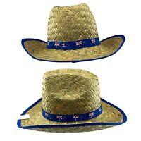 Adults Straw Cowboy Hat Wide Brim Australian Flag Hat Dress Up Costume Souvenir