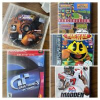 Sony PlayStation 5 games Lot! Gran Turismo,Madden NFL,Namco,PacMan,Time Crisis