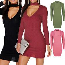 Womens Ladies Ribbed Choker High Plunge Neck Mini Bodycon Dress Long Sleeve