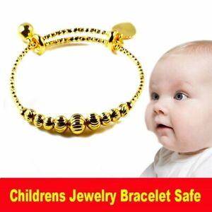 Safe Childrens Toddle Baby Kids 14K Gold GP Bangle Bracelet Bell Child Jewelry