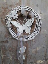 Shabby Reben Heu Türkranz Doppelkranz  Schmetterling Holzblumen Handarbeit