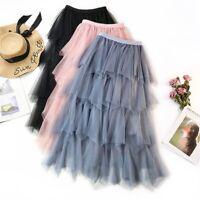 Women Elastic High Waist Pleated Solid Mesh Princess Tutu Tulle Skirt Midi Skirt