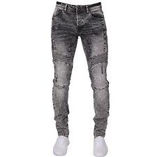 New ENZO Mens Stretch Super Skinny Cuffed Blue Denim Fit Biker Jogger Jeans
