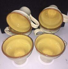 6 VIETRI ITALY CUCINA FRESCA MUG 14 OZ Cream with Pattern EXTERIOR TERRA COTTA