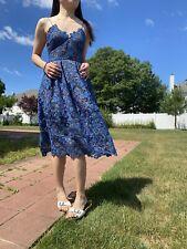 Self Portrait Azalea Floral Guipure-lace Dress In Ocean Blue Size UK 6