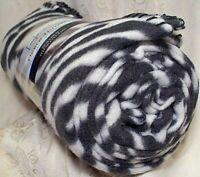 "Mainstays Fleece Throw Blanket 50"" x 60"" Zebra Print Black Stripe Lightweight"
