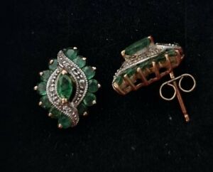 Stunning Vintage Emerald and Diamond stud Earrings set in 9ct Yellow Gold