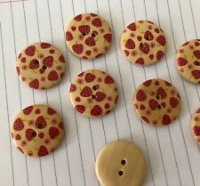 6pc Large Wooden Strawberry Buttons 30mm Wood D362 Aussie Seller