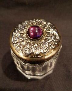 Art Nouveau Sterling Silver Glass Dresser Vanity Jar Repousse