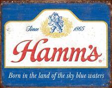 Hamm's - Classic Sky Blue Waters Beer Rustic Retro Metal Tin Sign 16 x 13in