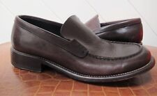 6d881315a4d8 Genuine PRADA Dark Tan LEATHER Shoes Slip on Loafer Designer Casual Sz 6  Preppy