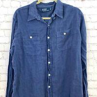 Polo Ralph Lauren Men Large Shirt Long Sleeve Blue 100% LINEN Casual Button Up