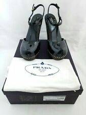 Prada Black Patent Leather Wooden Clog Platform Heels Shoes 36.5 New W/Box
