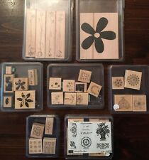 Stampin Up Lot Flower Rubber Stamp Set Posies Blossom Paint Memory Heart Polka D