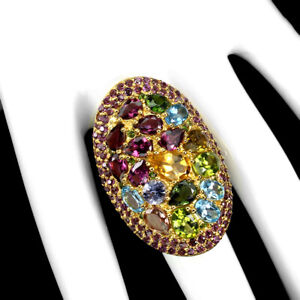 Unheated Oval Citrine Chrome Diopside Tanzanite Gems 925 Sterling Silver Ring 8