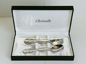 CHRISTOFLE Silverplate Baby Set Fork & Spoon Bear and Rabbit with Balloon