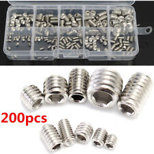 200pcs M3 M4 M5 M6 M8 Stainless Steel Hex Socket Set Screws Assortment Kit + Box