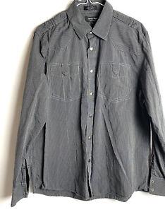 Eighty Eight Platinum Men's Snap Up Long Sleeve Shirt Black Striped Size L