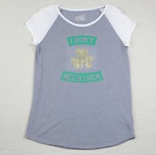 Girls L Under Armour T Shirt Gold Shamrock Top St Patricks Luck YLG Loose Large