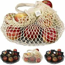 Reusable Grocery Shopping Bags Set of 4 Cotton Net Mesh Produce Tote Bag