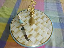 MACKENZIE CHILDS Parchment check ceramic cheese Serving Tray NLA Rare Retail 395