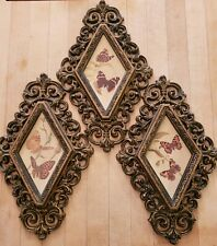 VINTAGE 1970s SET OF 3 HOMCO HOME INTERIORS  FRAMED BUTTERFLY PICTURES Free ship