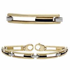 Men's 14k Yellow & White Gold Floating Onyx Inlay Rectangular Link Bracelet
