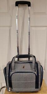 "LONDON FOG 15"" Wheeled Carry On Luggage Style #7490 ~ Blue Weekend Bag"