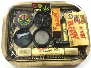 Metal Tray Rolling Papers Smokers Rizla Rolling Roll Up Prep Tobacco UK FREE -B