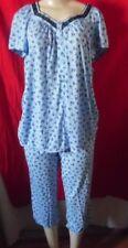 BLUE FLORAL TOP & CROP PANTS SECRET TREASURES PYJAMAS NIGHTGOWN 3X 22W -24W