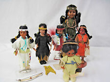 6 Vintage Native American Dolls-Carlson & Oglala Sioux-beads, leather/suede..nt